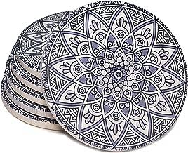 Coasterland Absorbent Coasters For Drinks, Grey Lines, Mandala, Drink Spills, Ceramic, Cork Backing, Save Furniture, Large, Set of 6