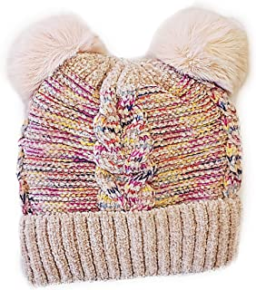 CORJENT Little Boys Girls and Baby Sherpa Lined Winter Pom Pom Beanie Hat