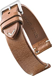 Alpine Genuine Vintage Leather Watch Strap with Quick Release Spring Bars - Watch Band Colors Black, Bown, Tan - 18, 20, 2...