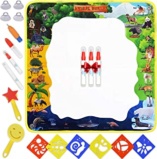 "DolloFun Magic Water Coloring Doodle Mat for Kids - Non-Toxic Water Pens, 30"" X 30"" - Educational Drawing Set with Stencils for Toddlers"