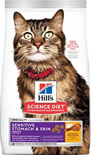 Hill's Science Diet Adult Sensitive Stomach & Skin Dry Cat Food, Chicken & Rice Recipe, 15.5 lb Bag