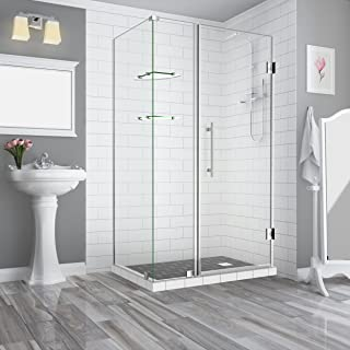 Aston SEN962EZ-SS-483436-10 Bromley GS Frameless Hinged Shower Enclosure with StarCast Clear Glass and Shelves, 47.25
