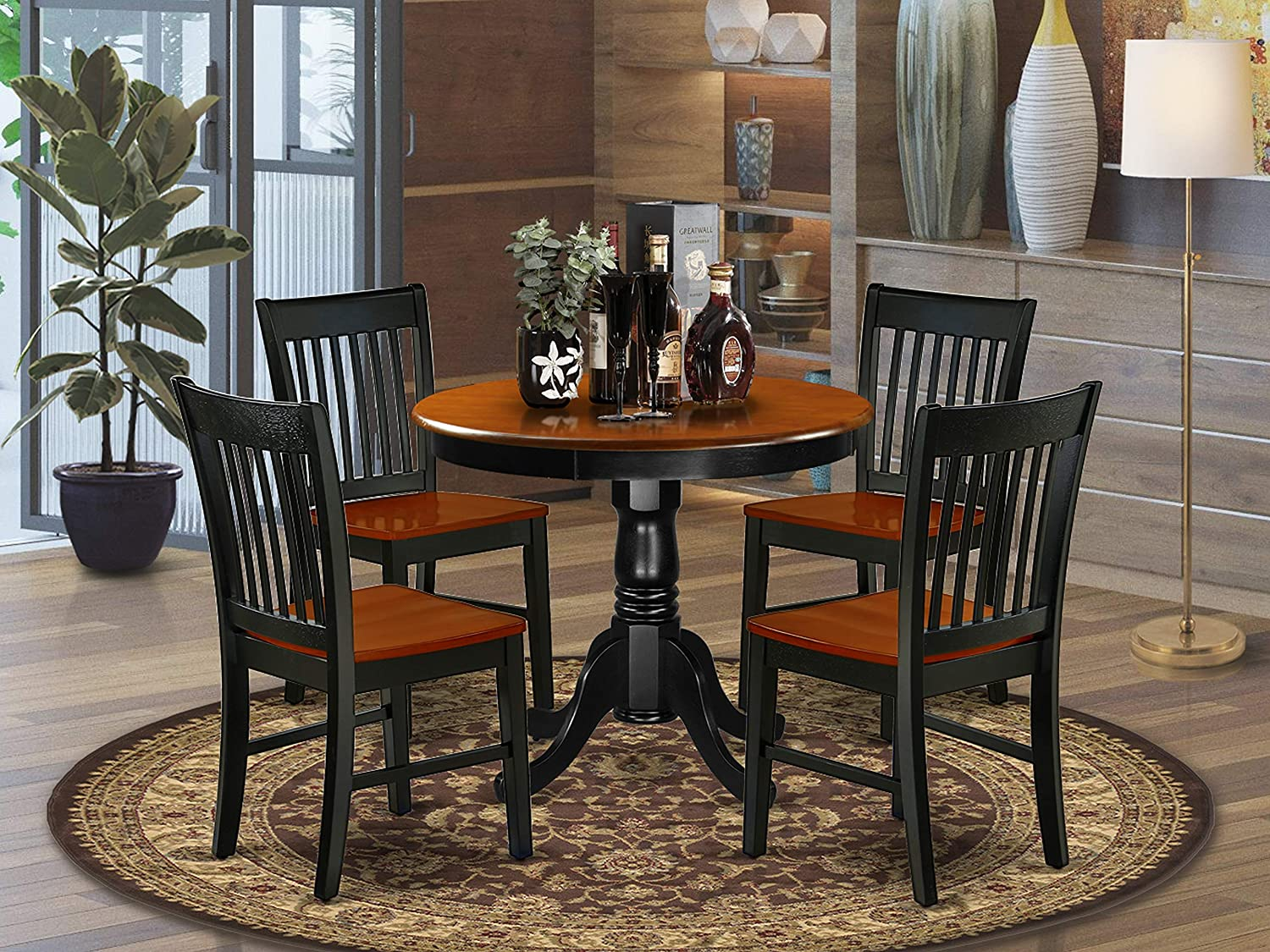 East West Furniture Set 9 Amazing Chairs A Attractive Modern Wooden  Seat Cherry and Black Round Dining Table