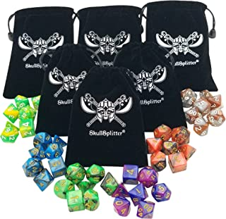 Skull Splitter Dice - Six Set of 7 Swirl Polyhedral RPG Dice Sets D4,  D6, D8,  D10,  D20,  Percentile w Small Dice Bags