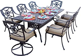 Darlee 9 Piece Ten Star Cast Aluminum Dining Set with Sesame seat Cushions and 42'' x 84'' Rectangular Dining Table, Antique Bronze Finish