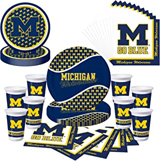 Michigan Wolverines U of M Party Bundle with Plates, Cups, Napkins