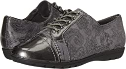Dark Grey Paisley Faux Suede/Dark Grey Pearlized Patent