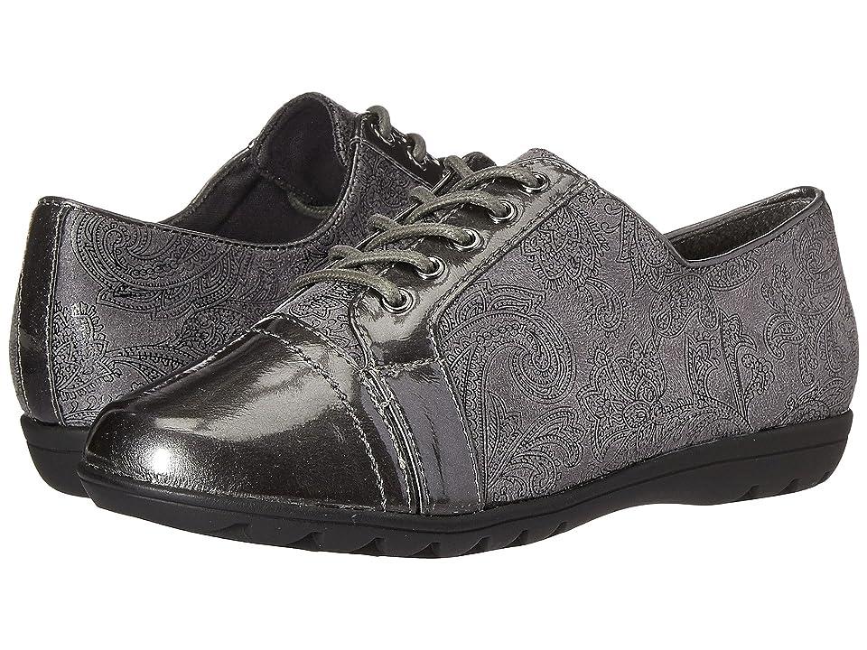 Soft Style Valda (Dark Grey Paisley Faux Suede/Dark Grey Pearlized Patent) Women