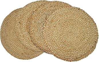 "Chardin home Round Woven Jute Braided PLACEMAT (Set of 4), Size -15"" Round, Color - Natural Jute."