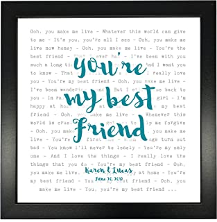 Queen, You're My Best Friend' - Typography Song Lyrics Print Framed & Personalised