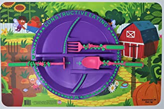Constructive Eating Garden Fairy Combo with Utensil Set, Plate and Placemat for Toddlers, Babies and Kids - Flatware Toys are Made in The USA with FDA Approved Materials for Safe and Fun Eating