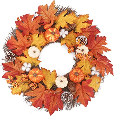 BOMAROLAN Fall Wreath 22 Inch Autumn Artificial Pumpkin Cotton Pine Cone Berries Maple Leaves Harvest Wreath for Front Door for Halloween Thanksgiving Decor