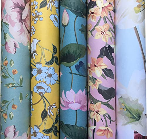 Aakar Floral Assorted Wrapping Paper Sheets Pack of 5 Size 29 x 19 inches Design Hydrengeas Water Lotus Mustard Crush...