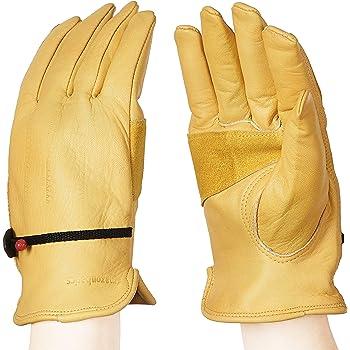 AmazonBasics Leather Work Gloves with Wrist Closure - Yellow, XXL