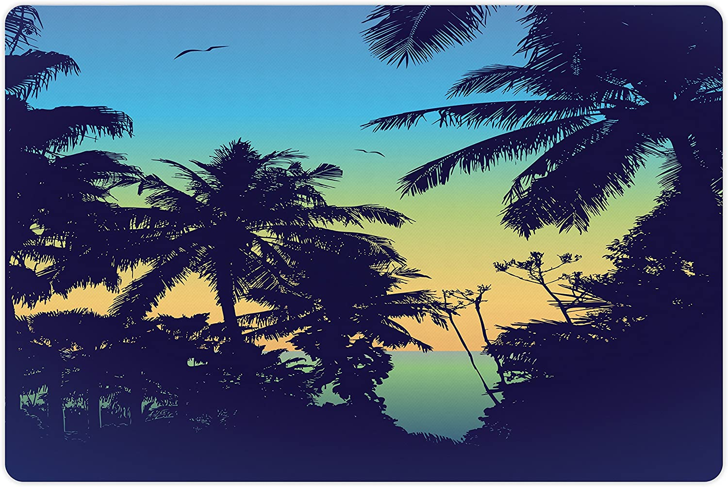 Lunarable Tropical Pet Mat for Food Nashville-Davidson Mall A Water Sunset SALENEW very popular! Panorama and