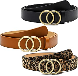 PANTIDE 3 Pack Women Faux Leather Belts for Jeans Waist Belts with Double Ring Buckle