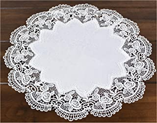 Linens, Art and Things Round Antique Royal Rose European White Jacquard Lace Table Top Centerpiece 15 Inch Approx Doily Placemat