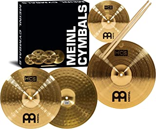"""Meinl Cymbal Set Box Pack with 13"""" Hihats, 14"""" Crash, Plus Free 10"""" Splash, Sticks, Lessons – HCS Traditional Brass – Made in Germany, 2-YEAR WARRANTY MultiColor HCS1314-10S"""