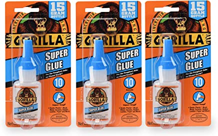 Gorilla Super Glue 15 Gram, Clear, (3 Pack)