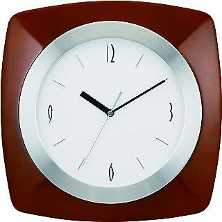 "Tempus TC7902BR Wall Clock with Wood Aluminum Frame and Daylight Saving Time Auto-Adjust Movement, 12"", Dark Brown"