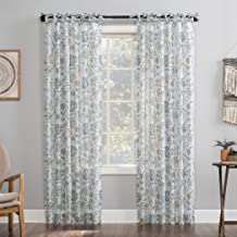 "No. 918 Cielle 2-pack Folk Floral Linen Blend DIY Crafted Sheer Tie Top Curtain Panel Pair, 50"" x 63"", Silver Gray"