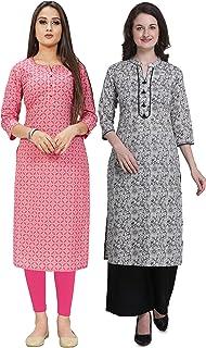 Rajnandini Women's Pure Cotton Jaipuri Printed Straight Kurti (Ready to Wear; Pack of 2)