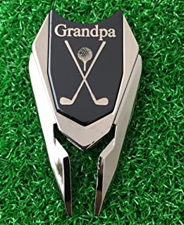 The Quintessential Hostess Grandpa Engraved Golf Gift Divot Tool and Ball Marker (Black) - Dad Personalized Gift, Dad Birthday Gift, Gift for Dad, Gift for Him Father's Day Grandfather Granddad Gift