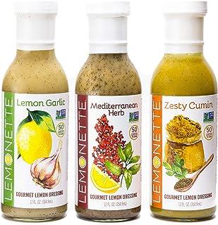 LEMONETTE Sugar Free, Low Cal, Low Fat Salad Dressing: Mediterranean Variety Pack (3) 12 oz Bottles - Paleo, Keto & Whole3...