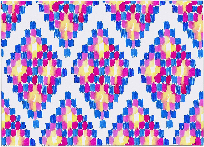 KESS InHouse DP1040ADM02 Danii Pollehn Marrakech Mosaic Pink bluee Watercolor Dog Place Mat, 24  x 15