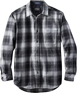 Men's Long Sleeve Button Front Classic Lodge Shirt, Black/Oxford Ombre, XX-Large