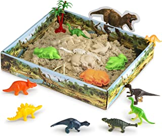 CoolSand 3D Sandbox - Dino Discovery Edition - Set Includes: 1 Pound Moldable Indoor Play Sand, Shaping Molds, Dinosaur Fi...