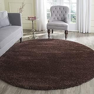 Safavieh Milan Shag Collection SG180-2525 Brown Round Area Rug (7' Diameter)