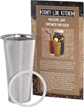 Stainless Steel Filter by County Line Kitchen for Cold Brewed Coffee, Iced Coffee and Iced Tea Maker Infuser for Use with 1 Quart Wide Mouth Mason Jars