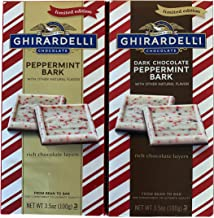 Ghiradelli Limited Edition Peppermint Bark Bundle ofTwo 3.5 Ounce Bars: One Peppermint Bark and One Dark Chocolate Pepperm...