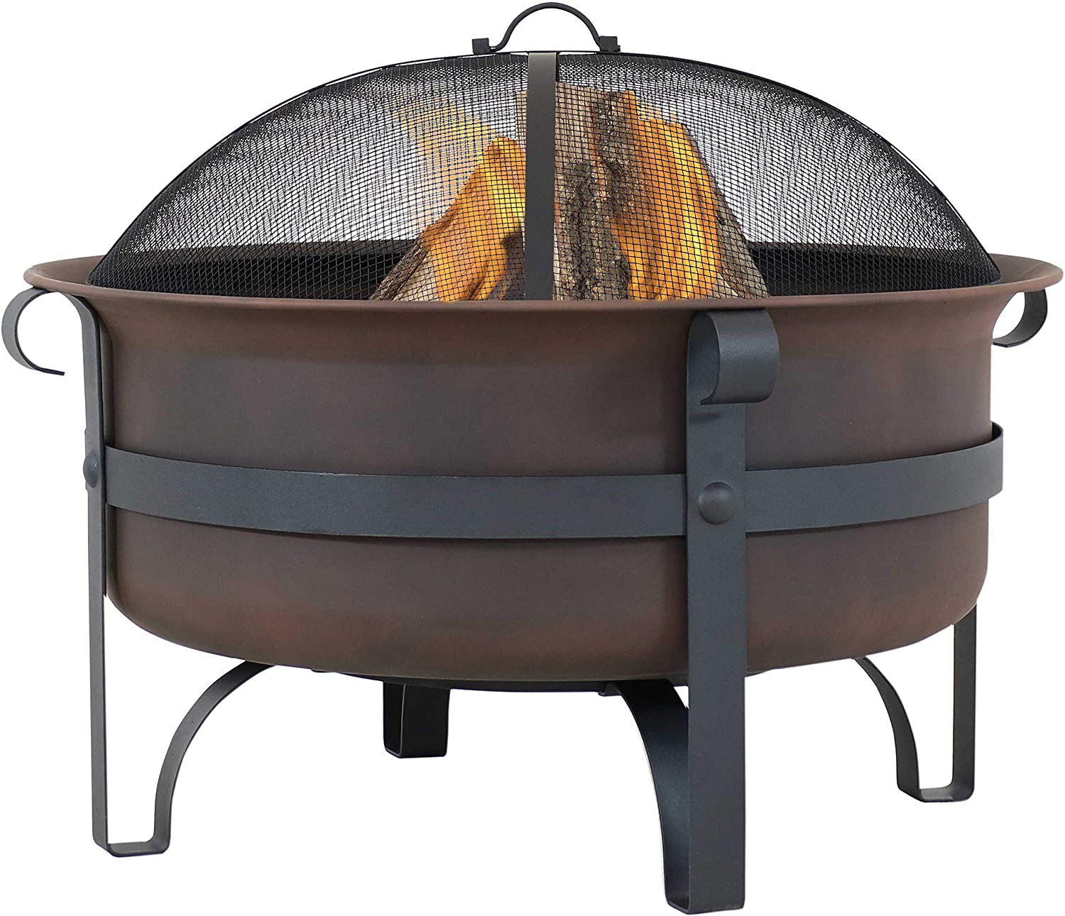 Sunnydaze Large Bronze Cauldron Outdoor Fire Pit Bowl   Round Wood Burning  Patio Firebowl with Portable Poker and Spark Screen   10 Inch
