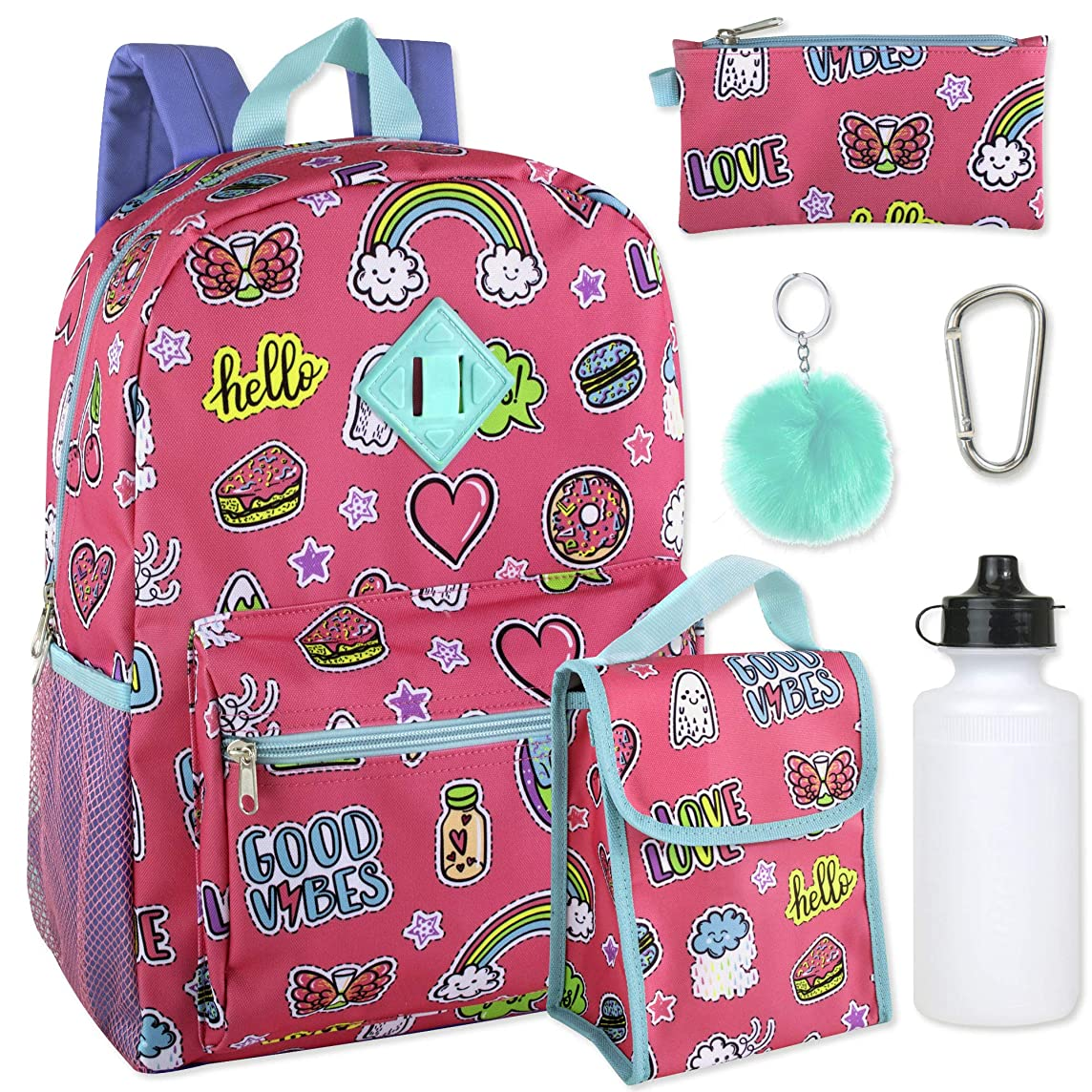 Girl's 6 in 1 Backpack Set Including A Backpack, Lunch Bag, Pencil Case,Water Bottle, Pom Pom Keychain, And Clip (Pink)