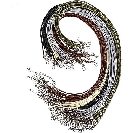 Cordoncino per Collana Cerato 50 Pezzi 2mm Laccetto Collana con Catenaccio Collare Corda per Collana Braccialetto Accessori per Fare Gioielli Fai da Te (5 Colori)