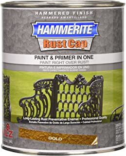Masterchem 43170 Hammerite Rust Cap Hammered Gold Enamel Paint, Quart
