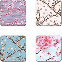 Beautiful Cherry blossom flowers coasters- 4 inch diameter-Square - neoprene coasters- Eco-Friendly, Made From 100% Recycled Rubber(Set of 4 )