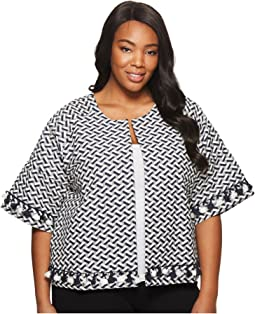 B Collection by Bobeau - Plus Size Jackie Jacquard Crop Jacket