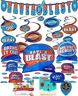 Nerf Party Supplies Birthday Custom Add an Age Banner, Swirls, Centerpiece, Balloon, and Birthday Card Bundle