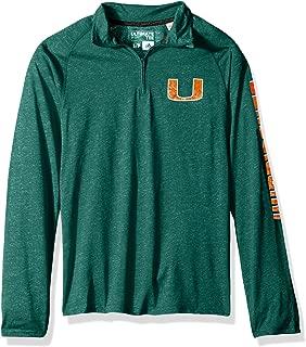 adidas Adult Men NCAA White Noise Casual Ultimate 1/4 Zip Tee, Medium, Dark Green Heathered, Miami Hurricanes