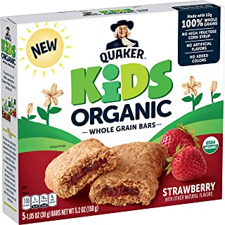 Quaker Kids Organic Whole Grain Bars, Strawberry, 1.05oz Bars, 5 Count