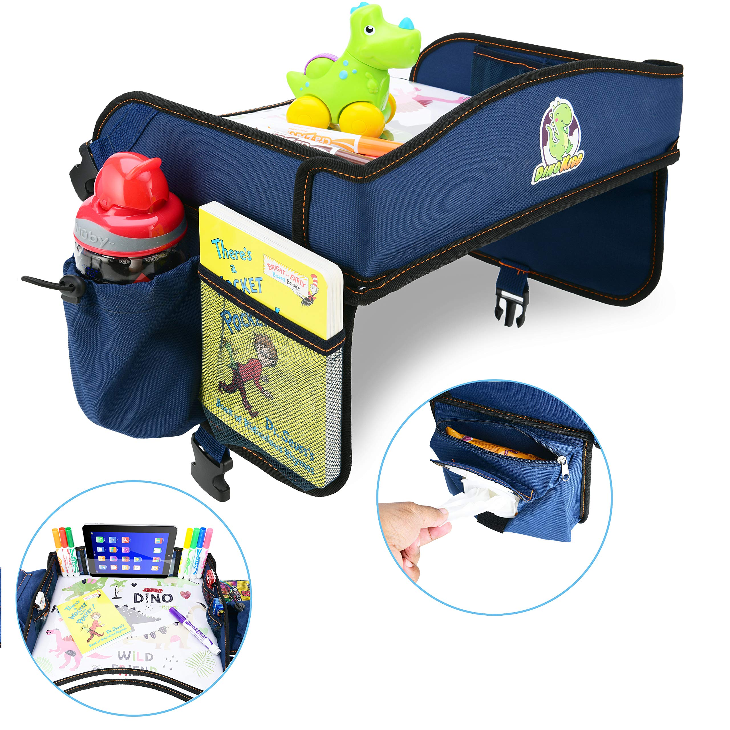 Pink Gelible Kids Car Seat Travel Tray,Detachable Toddler Lap Table Activity Tray with Cup Holder,Backseat Storage Organizer,Carry Bag and iPad /& Tablet Holder Great for Activity Snacks Play