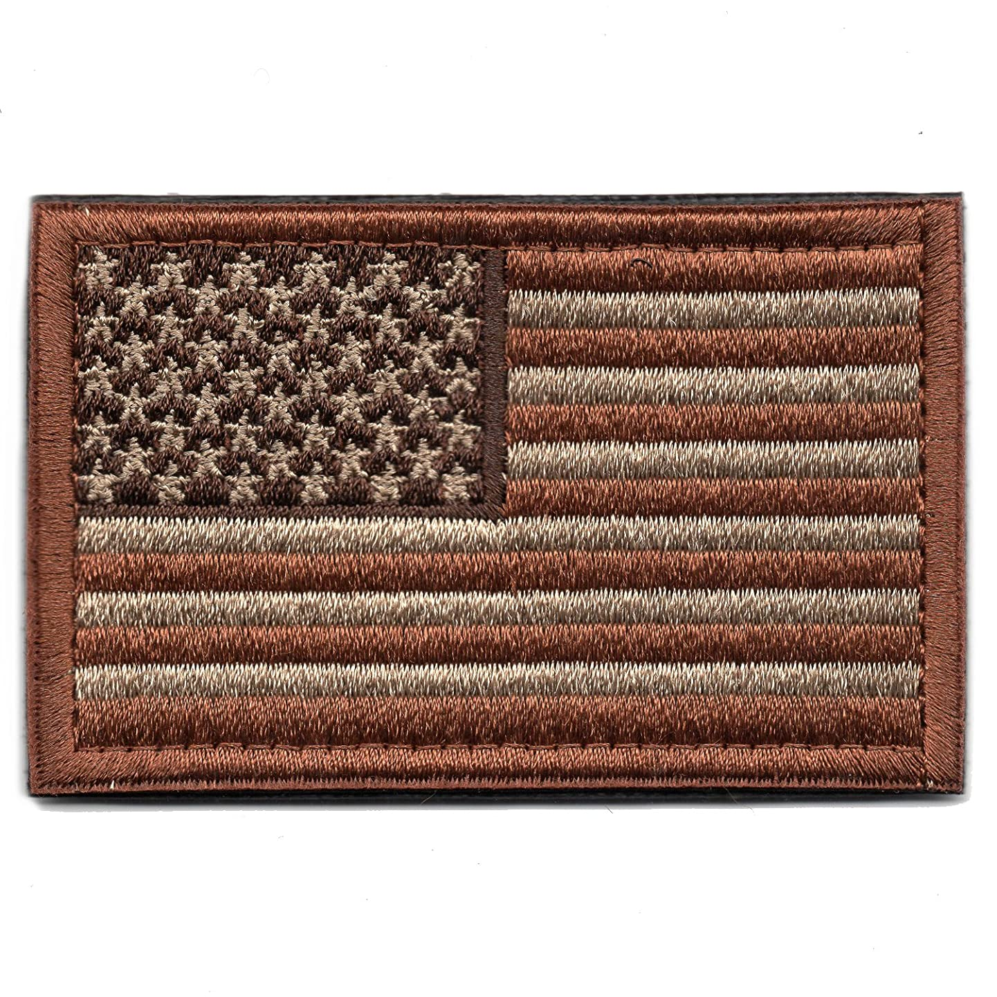 Tactical American Flag Patch Embroidered Military Uniform Emblem with Hook and Loop (Desert Coyote)