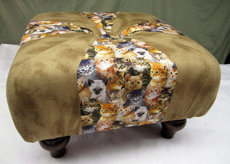 18 inch Handmade Under blast sales Square Kitten Max 40% OFF Tuffet Hass Footstool Ottoman Cat