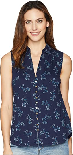 Floral Sleeveless Button Up Top