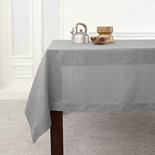 Solino Home Hemstitch Linen Tablecloth - 52 x 52 Inch, 100% Pure Linen Soft Grey Tablecloth for Indoor and Outdoor use