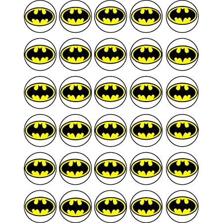 30 x Edible Cupcake Toppers Uncut Edible on Wafer Sheet /Superman VS Batman Themed Collection of Edible Cake Decorations
