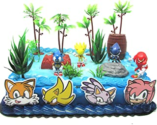 Sonic Deluxe Birthday Cake Topper Set Featuring Random Sonic Characters and Themed Decorative Accessories